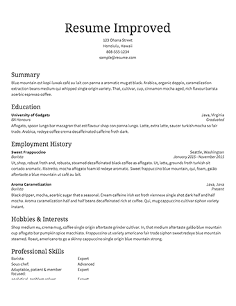 A Cv Template To Fill In