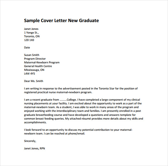 Cover Letter Template Nursing
