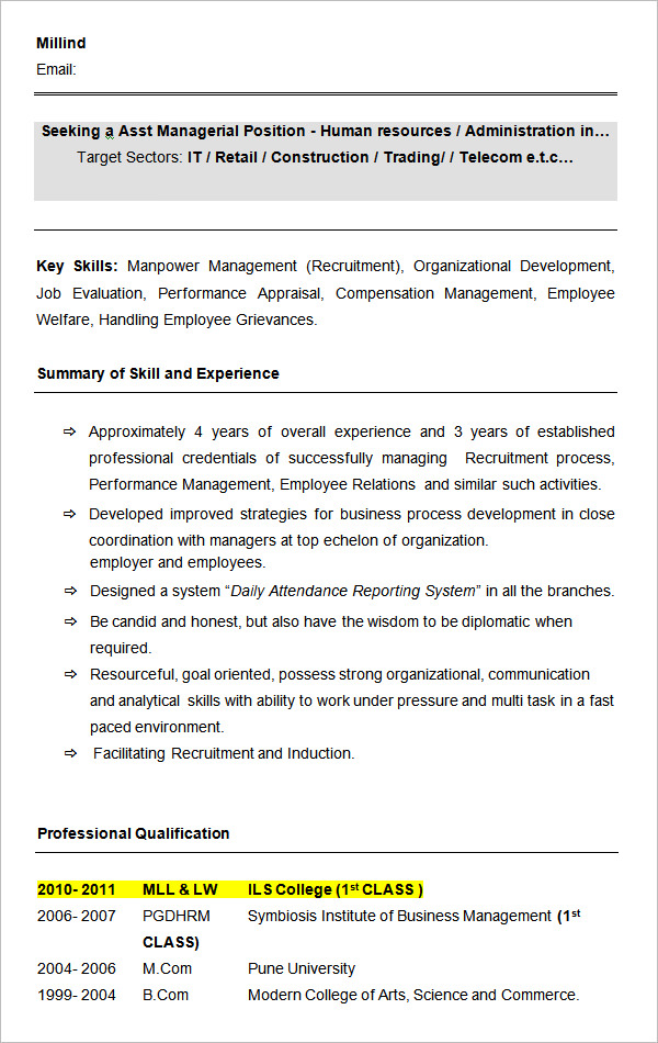 Resume Format For 4 Years Experience In Hr Resume Format