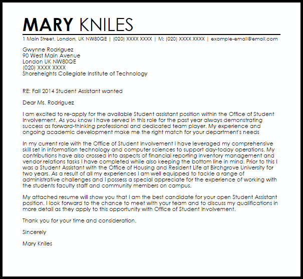 Cover Letter Template Uk Student