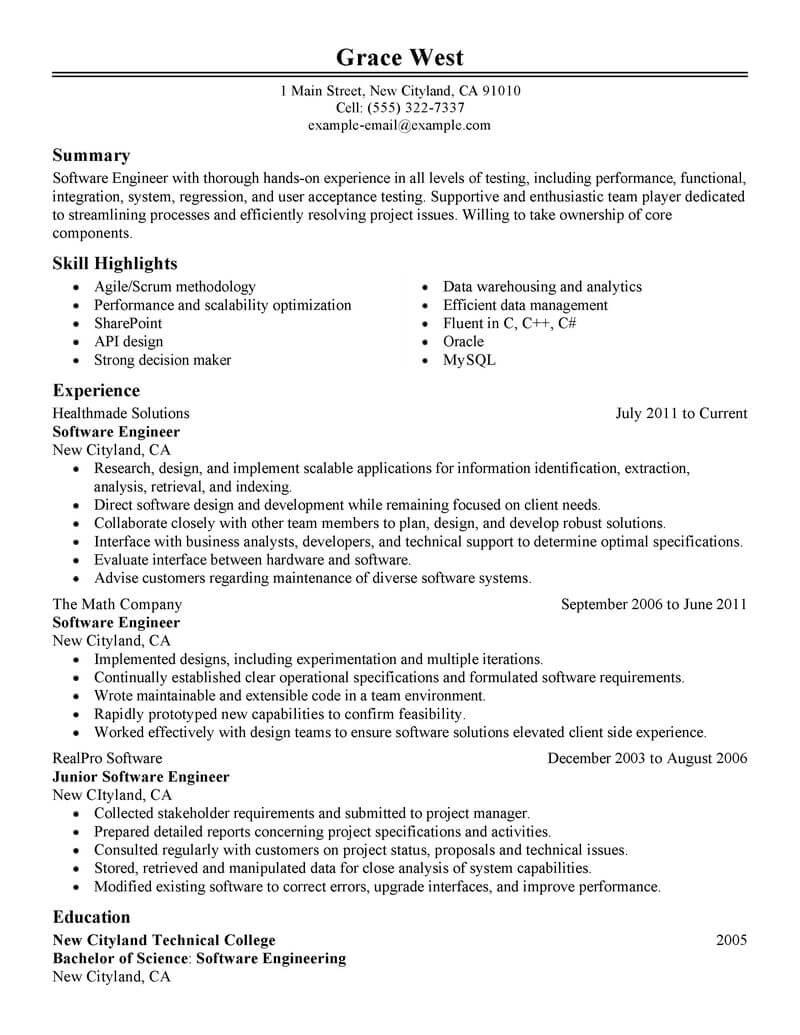 Resume Format Software Engineer