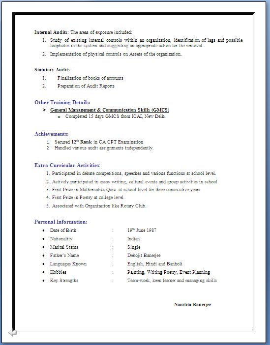 Resume Format For 4 Years Experience In Hr
