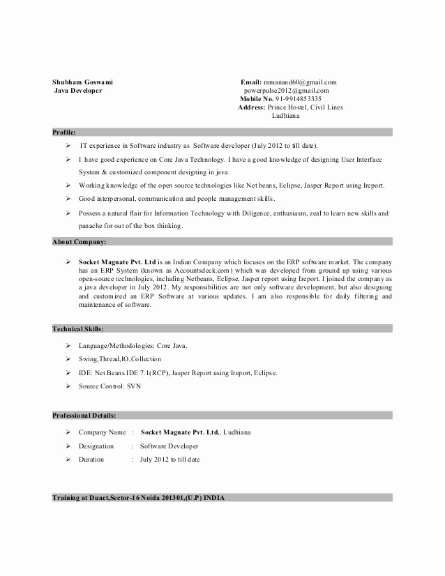 Resume Format For 5 Years Experience In Java