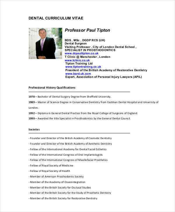 Cv Template Dentist