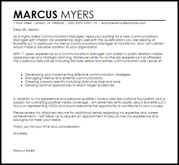 Cover Letter Template Communications