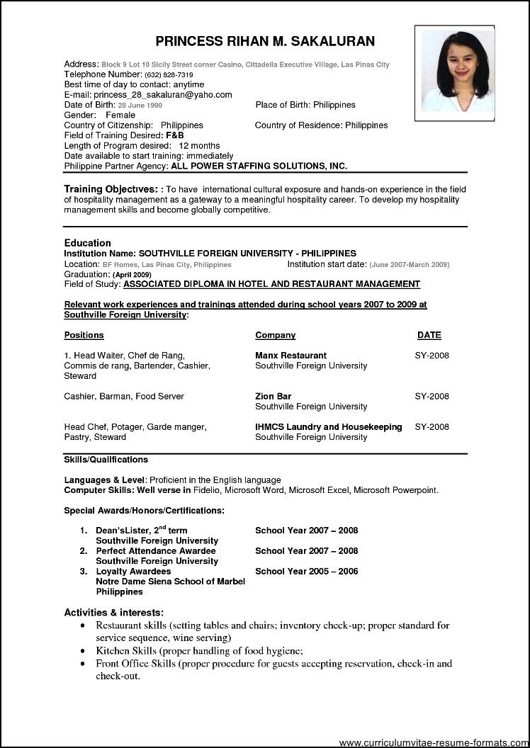 M E Resume Format