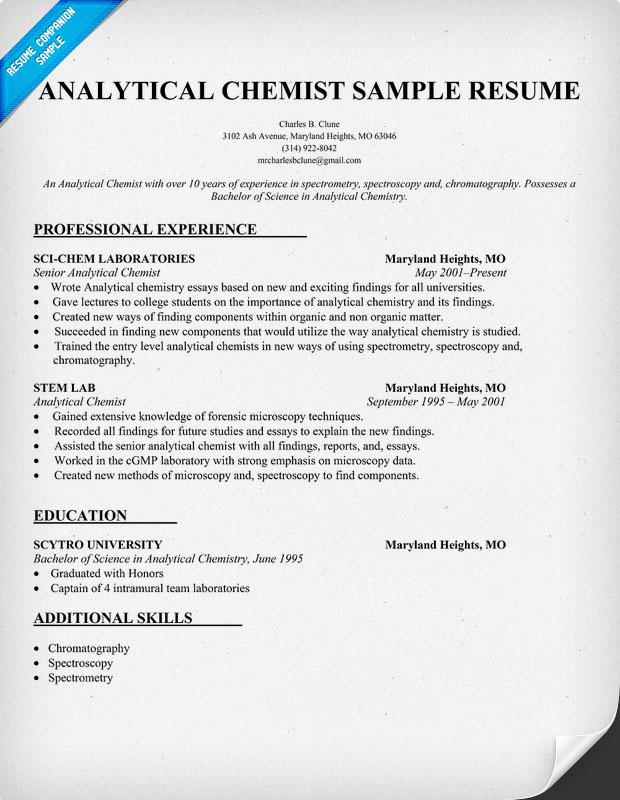 Cv Template Chemistry
