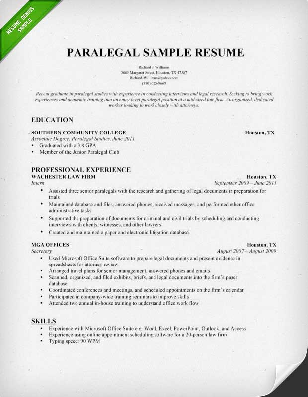 Cover Letter Template Paralegal