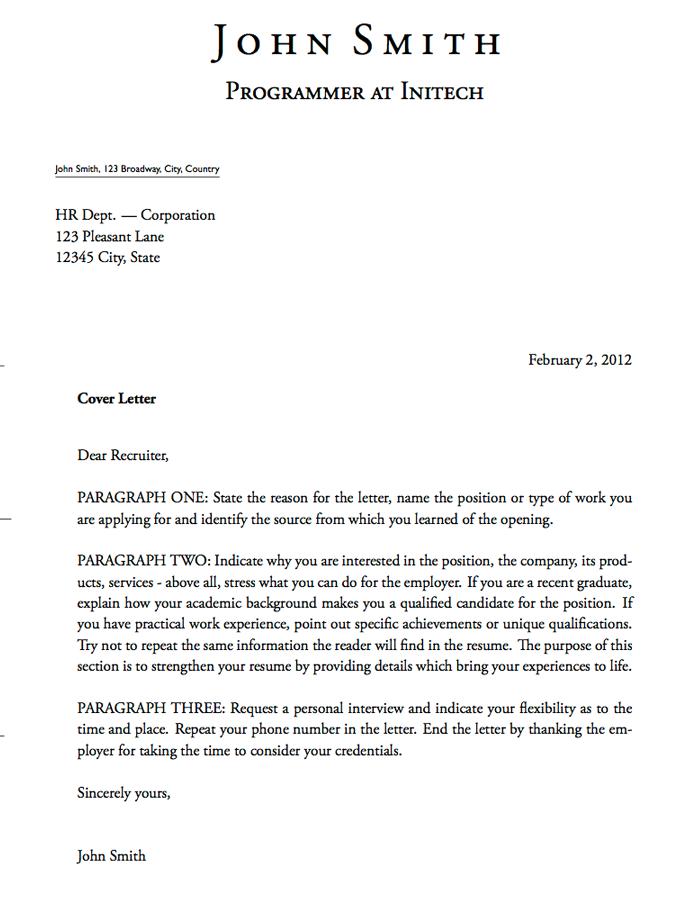 Cover Letter Template Short