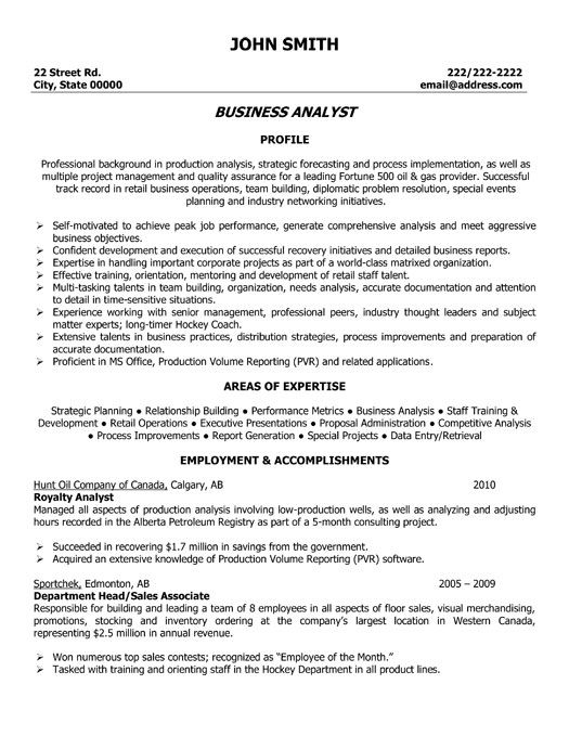 Resume Format Business Analyst