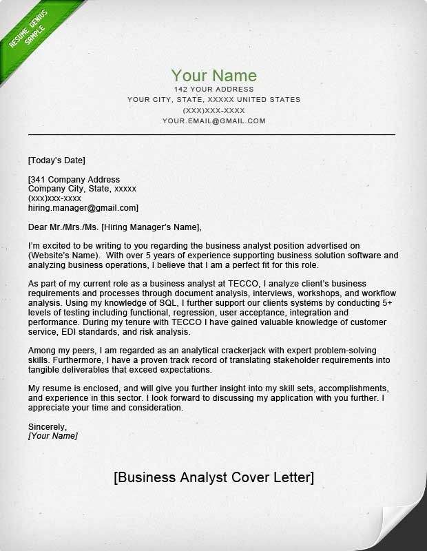 Cover Letter Template Job Application