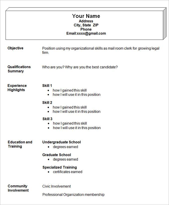 Resume Format Simple