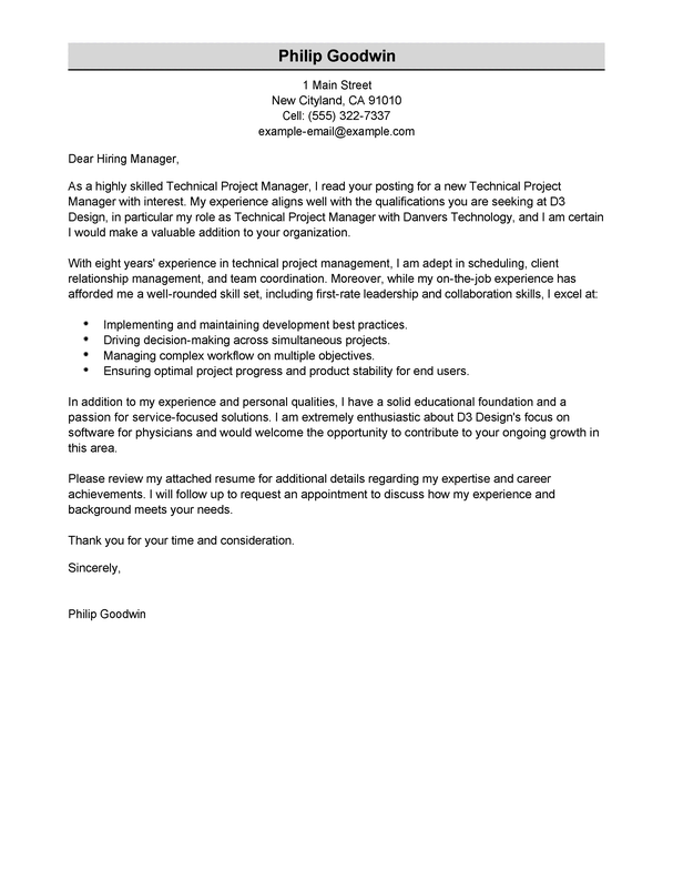 Cover Letter Template Project Manager