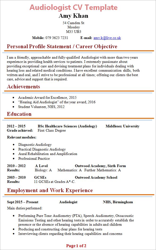 Cv Template Biology