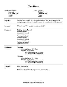 Resume Format Entry Level