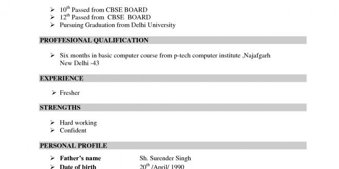 Resume Format In Cv