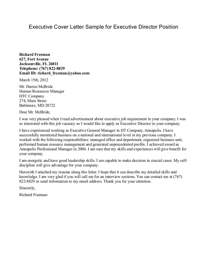 Cover Letter Template Executive Director