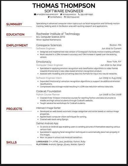 Resume Format And Font Size