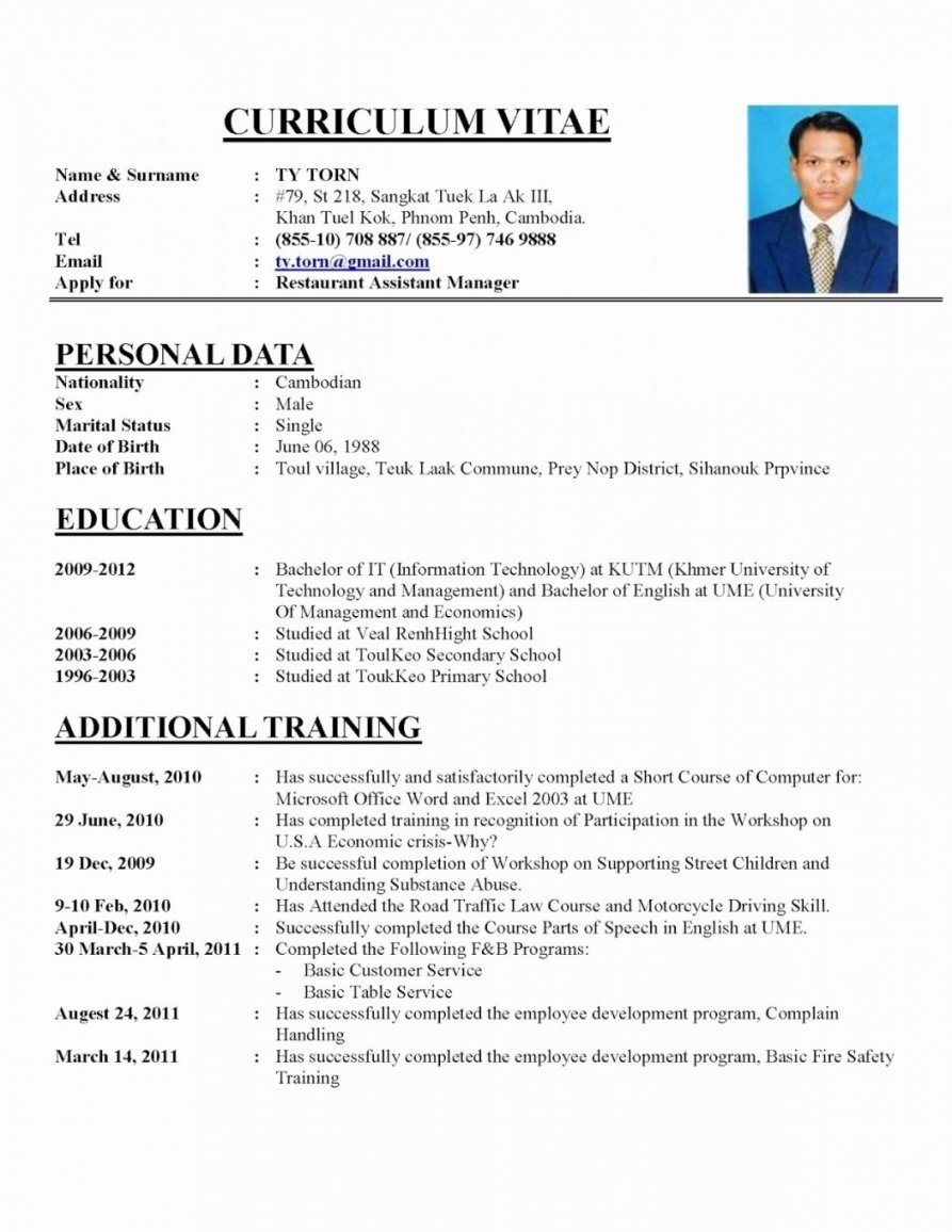 Resume Format 2018 Sample