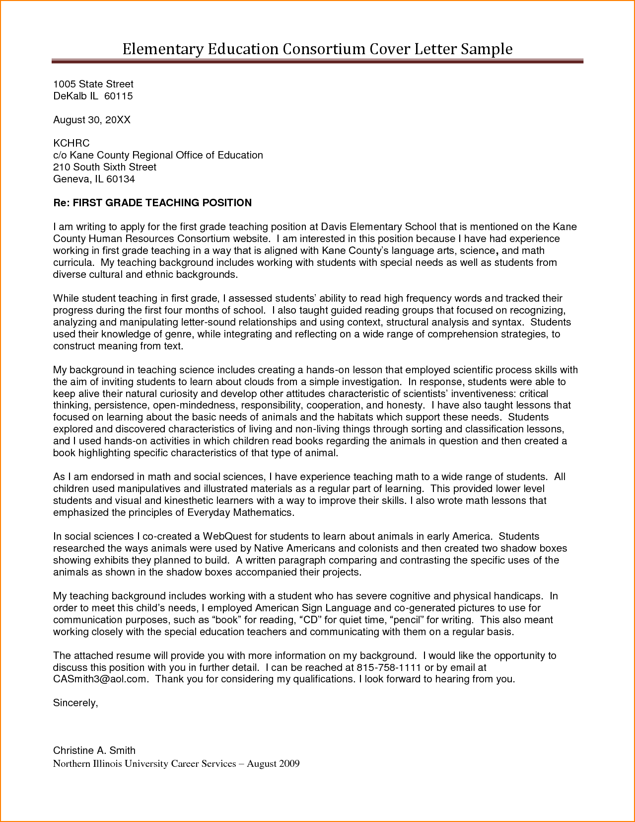 Cover Letter Template Higher Education