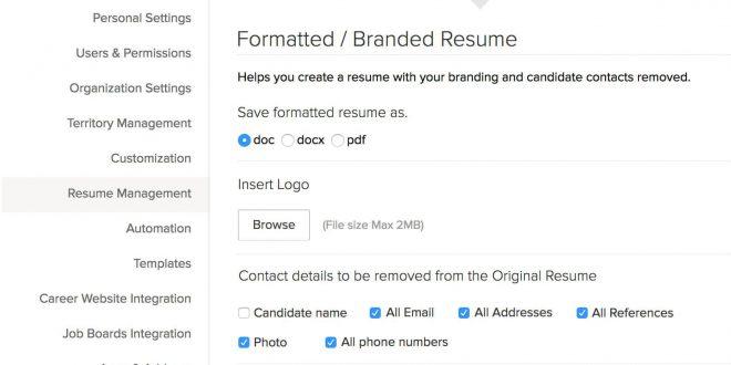 Resume Format For Zoho