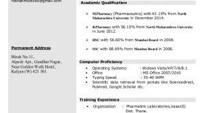 M Pharm Resume Format