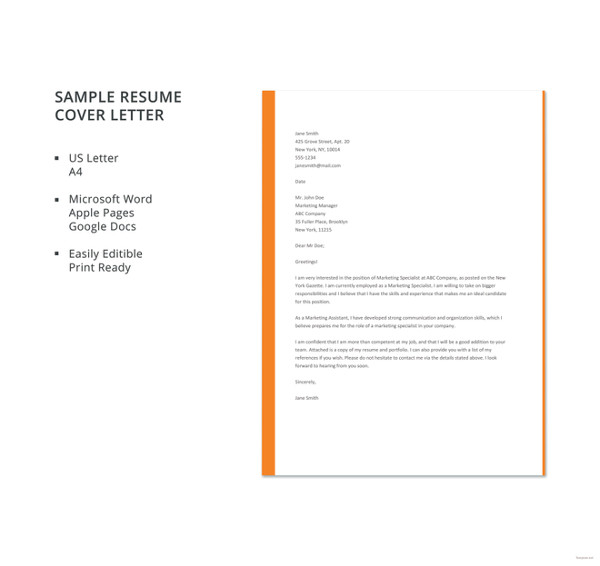 A Simple Cover Letter Template