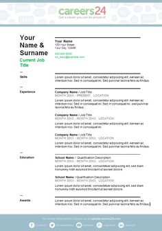 2 Page Cv Template South Africa