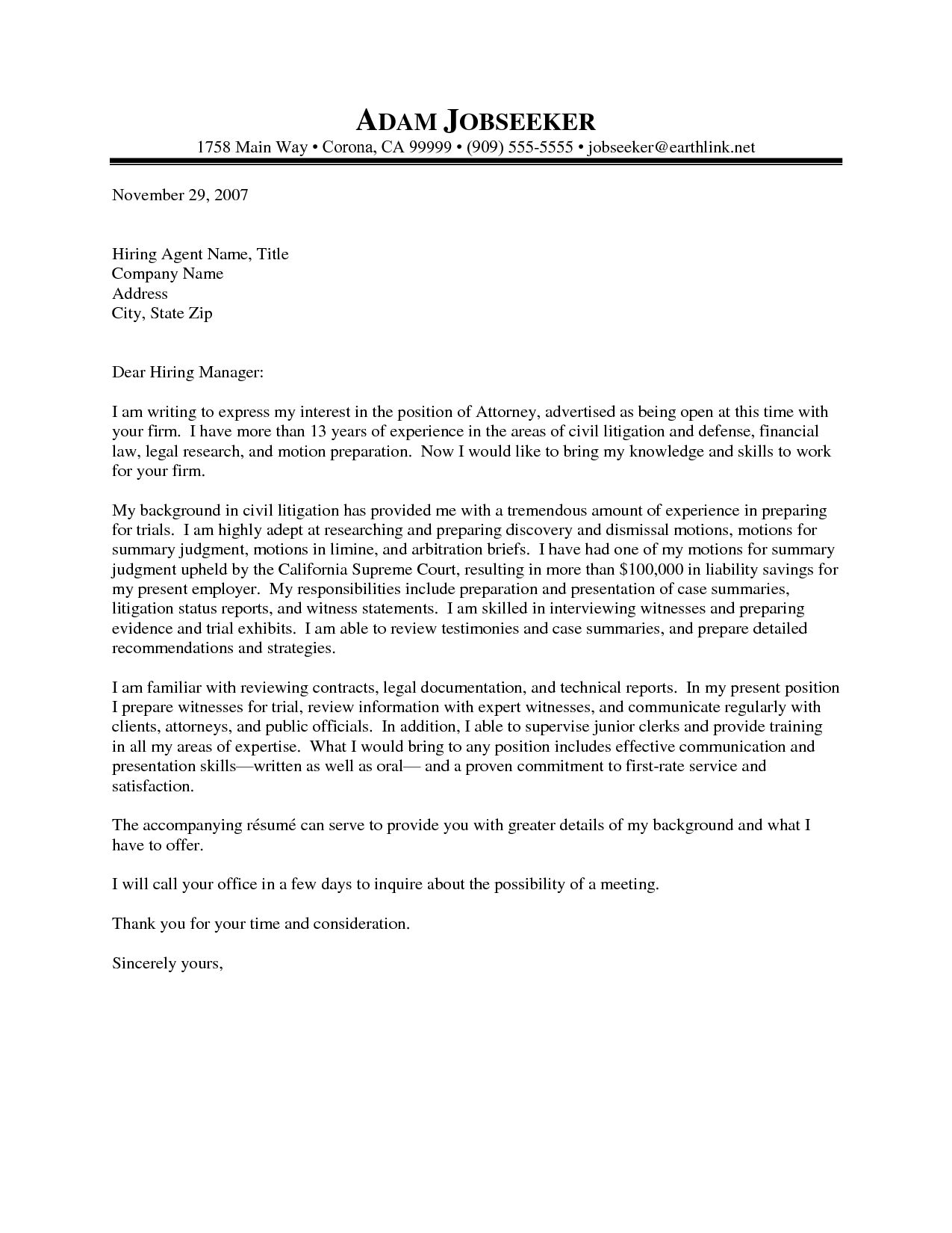 Cover Letter Template Law Firm