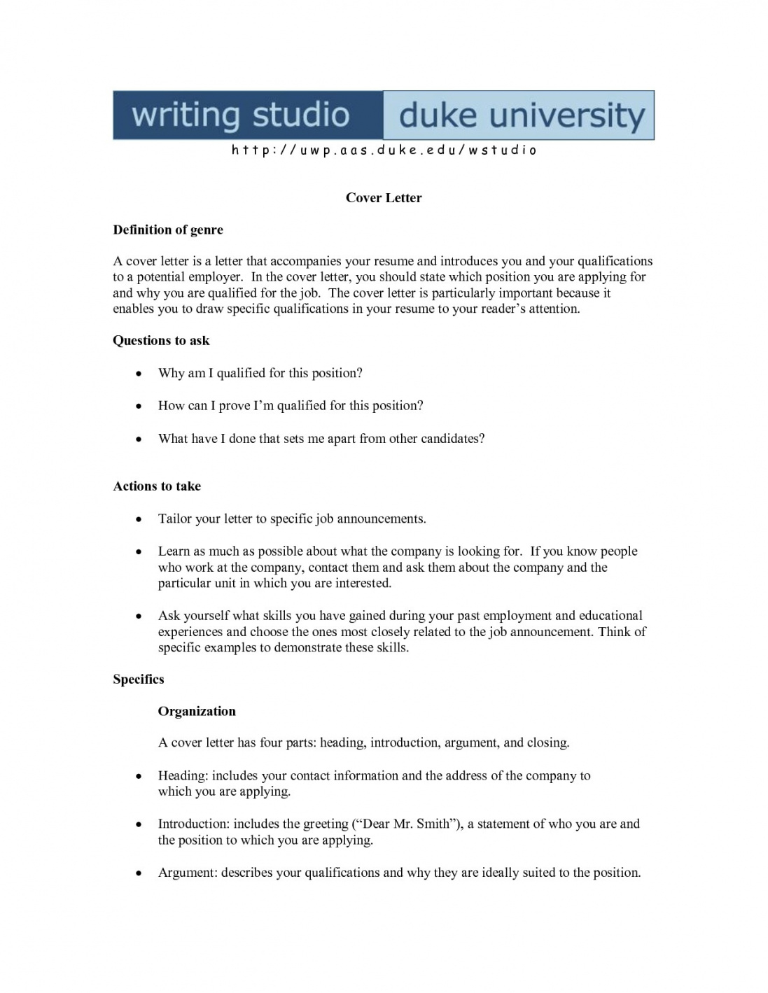 Cover Letter Template Mac
