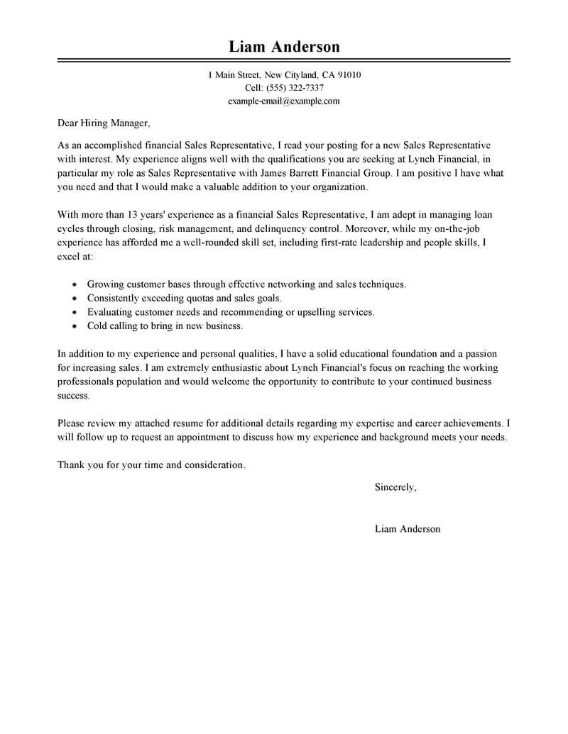 Cover Letter Template Sales Associate
