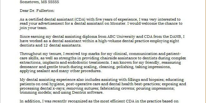 Cover Letter Template Dental Assistant