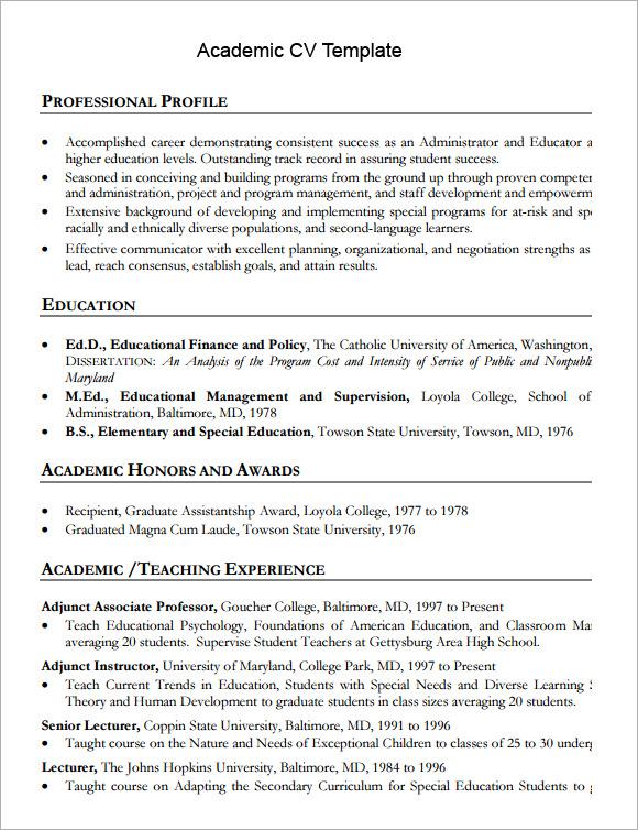 cv template academia