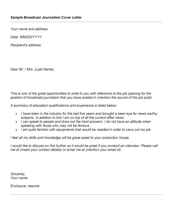 Journalism Cover Letter Template