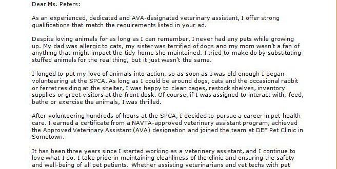 Veterinarian Assistant Cover Letter.Cover Letter Template Veterinary Technician Resume Format