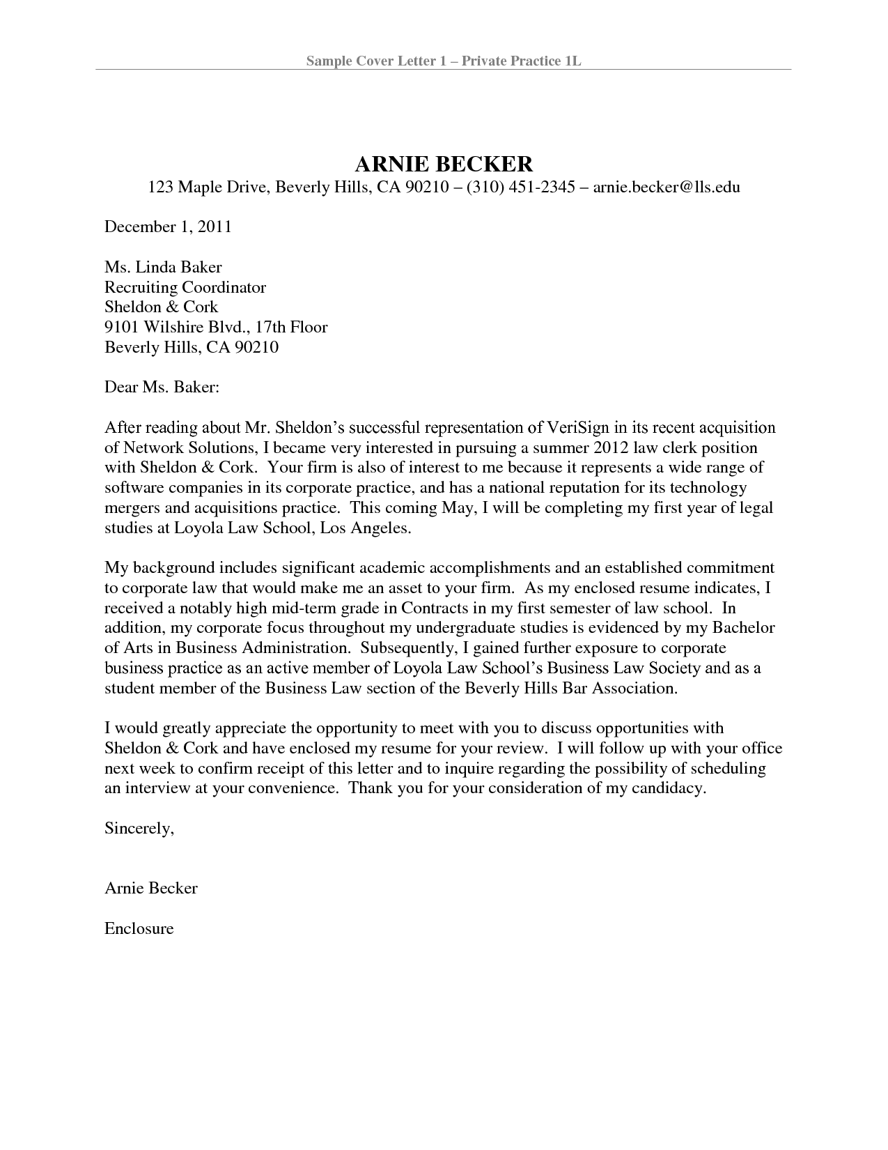 Cover Letter Template Attorney