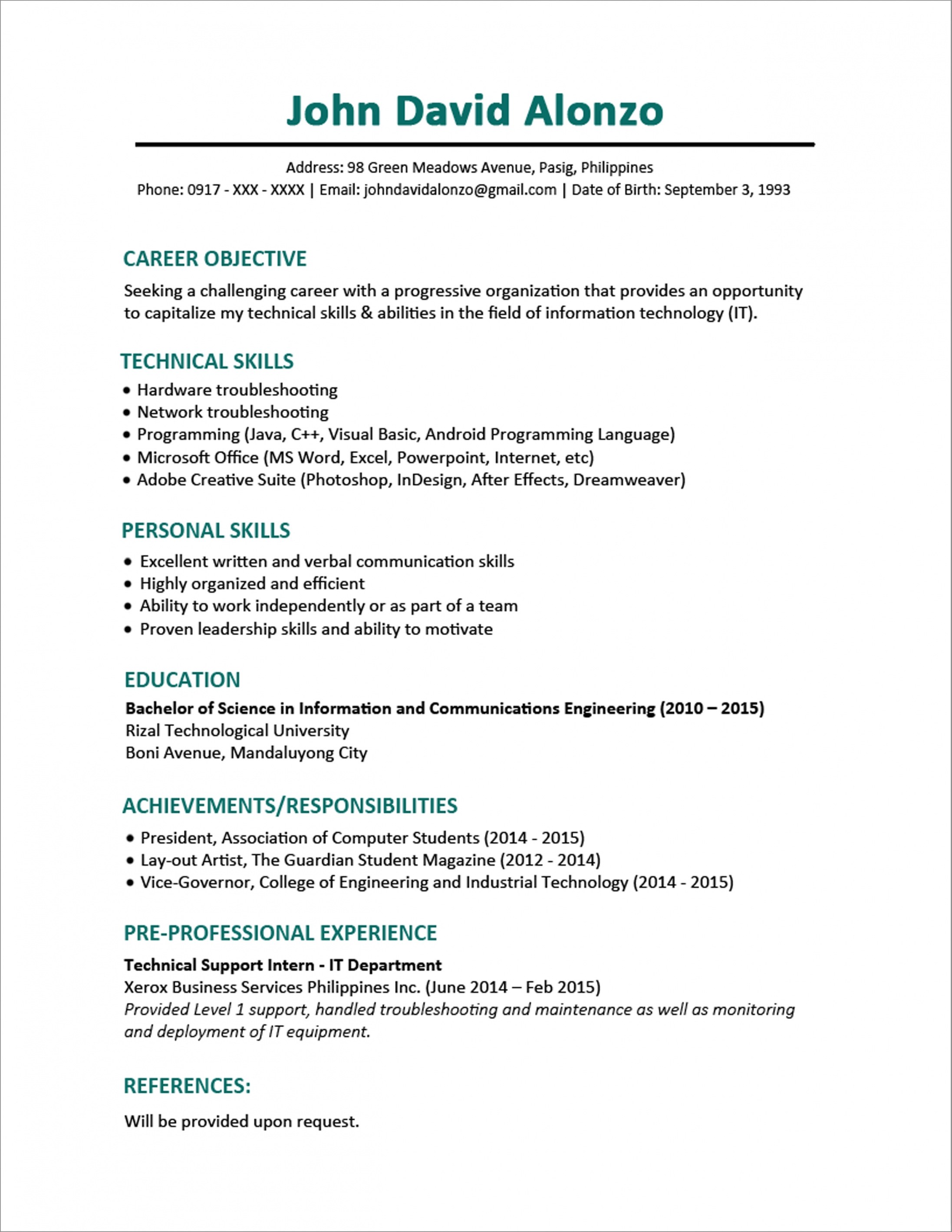 Copy Of Resume Format - Resume Format