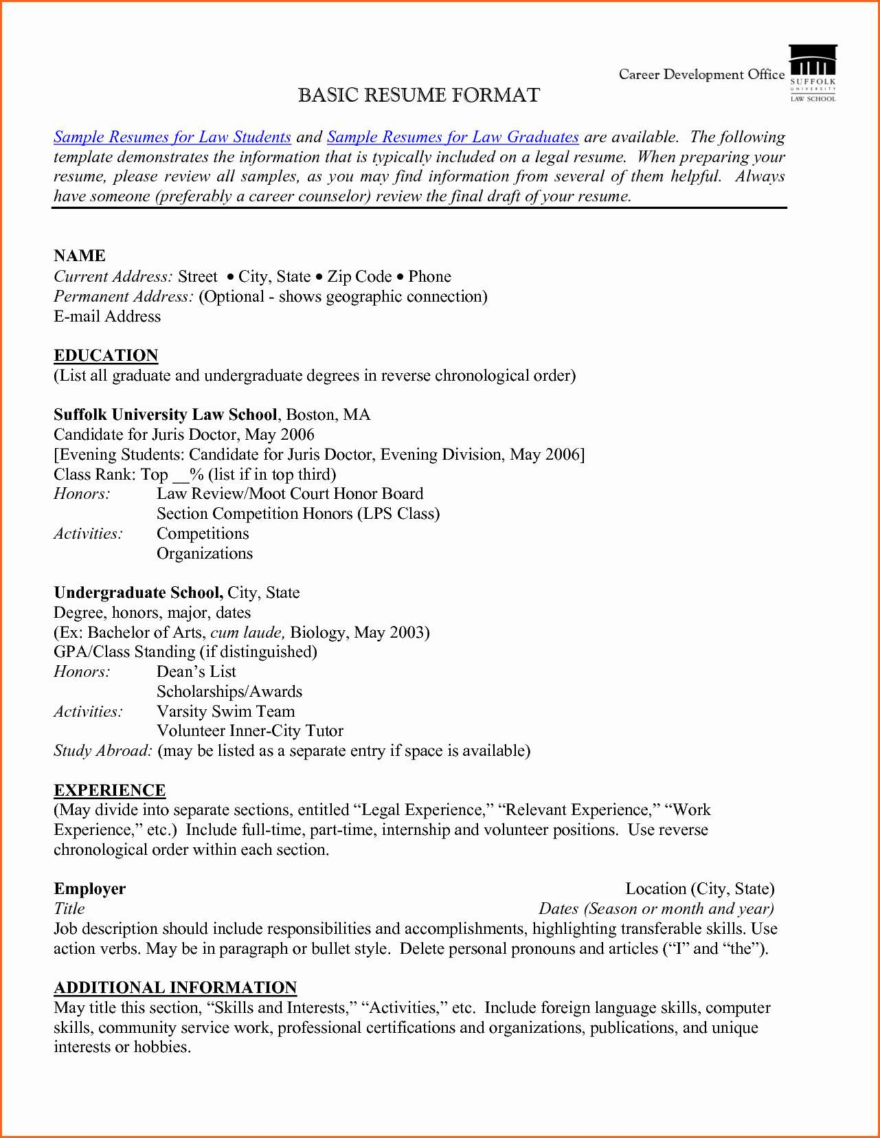 Resume Format Publications