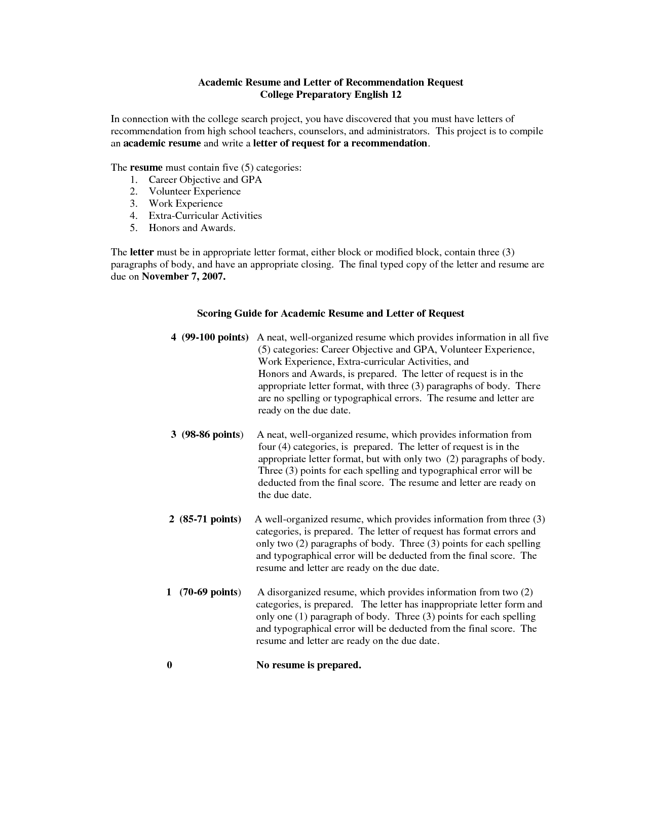Resume Format Recommendations