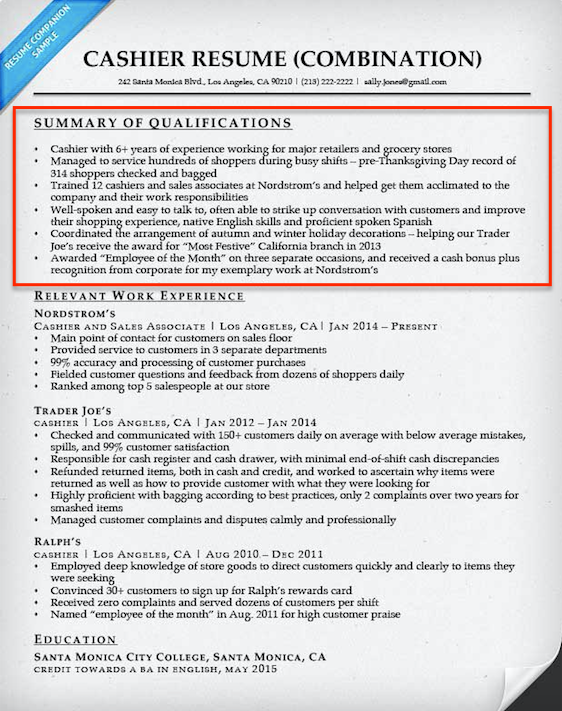 Resume Format Qualifications