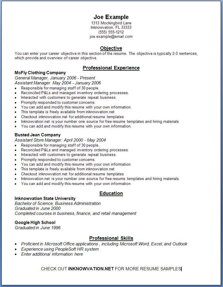 Resume Format Online Free