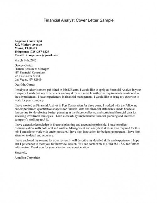 Cover Letter Template Analyst