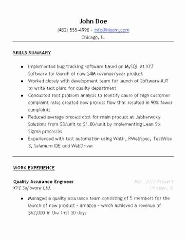 Resume Format Quality Assurance Pharma