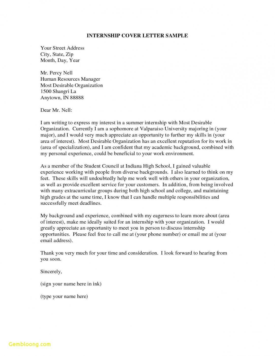 Cover Letter Template Internship