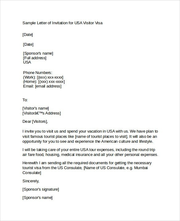 Cover Letter Template Visa Application