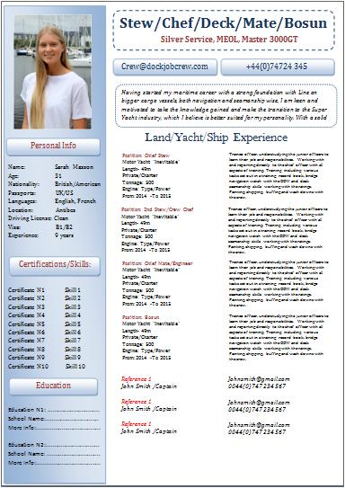 Cv Template Yacht Crew