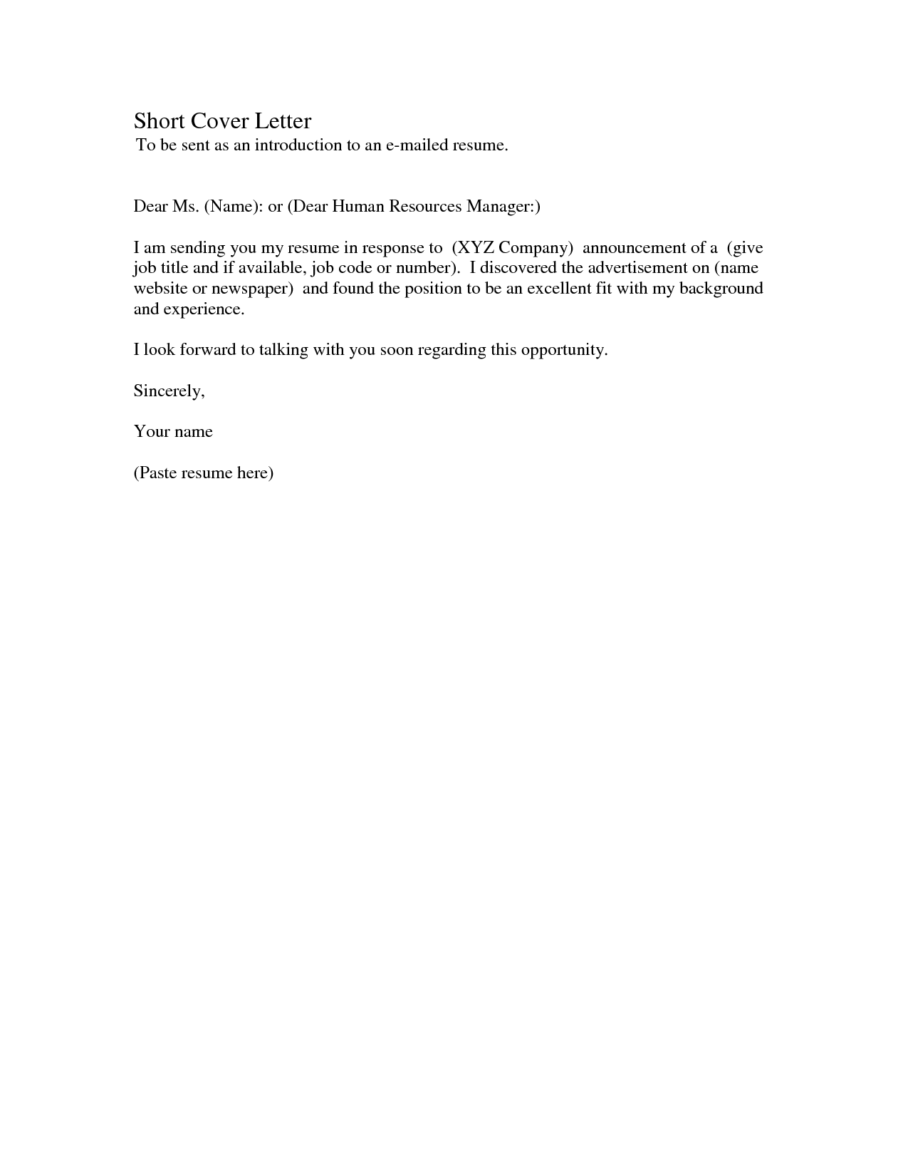 Cover Letter Template Basic