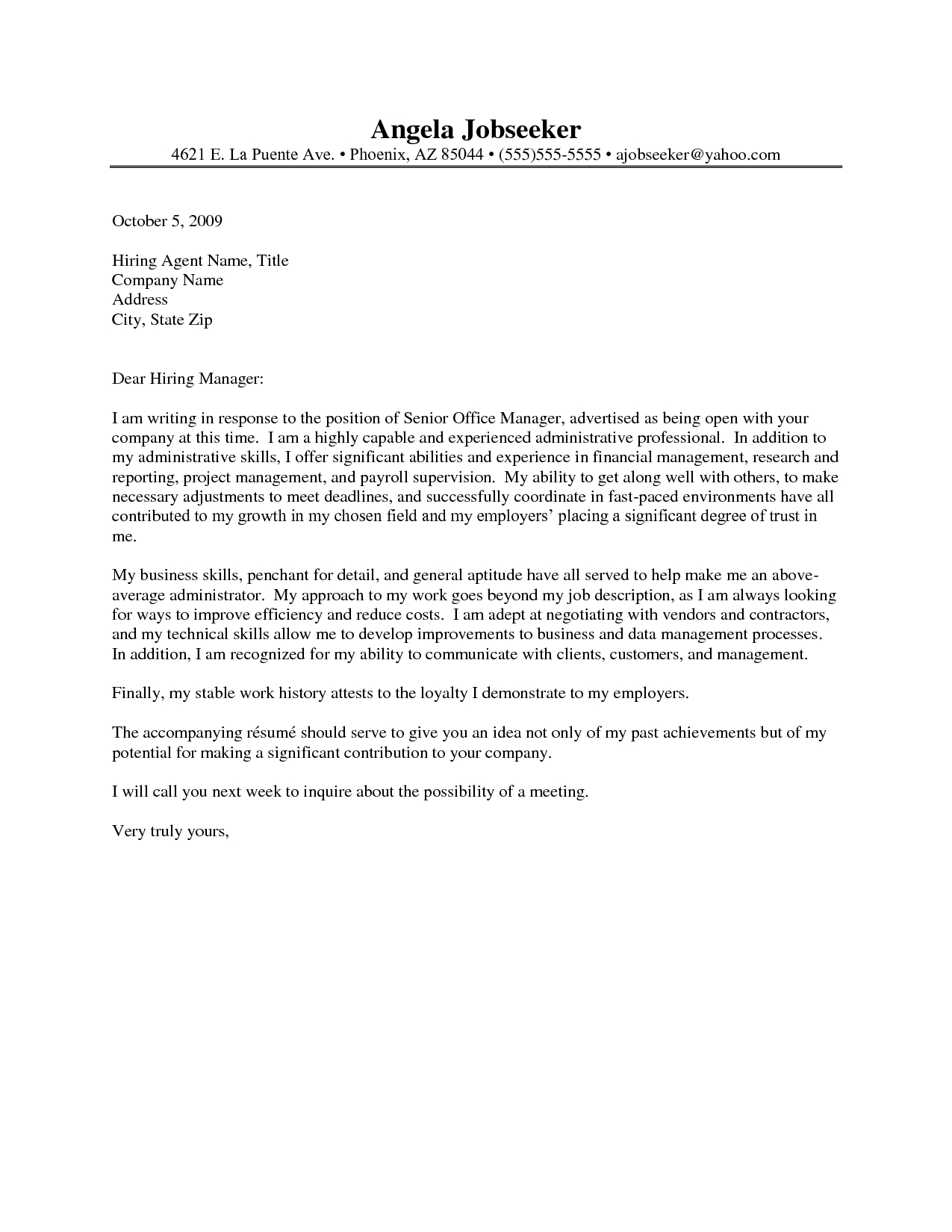 Cover Letter Template Office Assistant