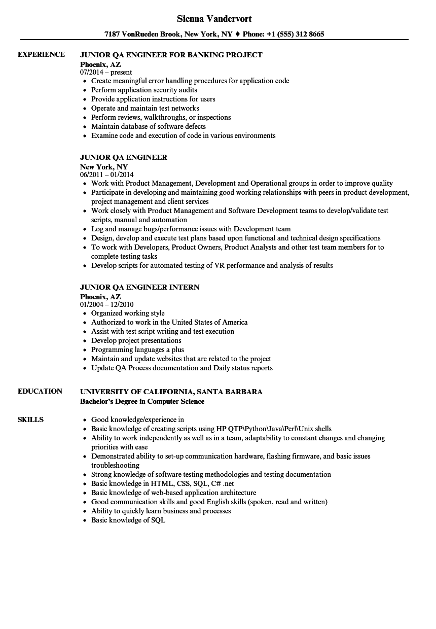 Cv Template Qa Engineer