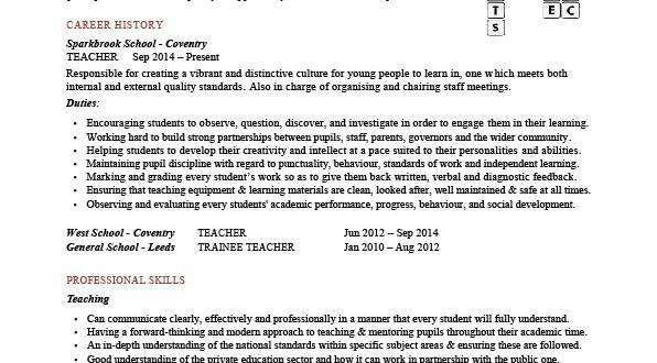 E Teach Cv Template